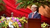 Đồng chí Trần Quốc Vượng báo cáo kiểm điểm sự lãnh đạo, chỉ đạo của Ban Chấp hành Trung ương khoá XII. Ảnh: VIẾT CHUNG