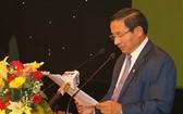 河靖省委書記黎廷山在會議上發表演講。(圖源:互聯網)