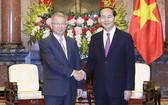 國家主席陳大光昨(28)日下午在主席府接見了韓國大法院院長梁承泰。(圖源:越通社)