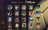 《法國足球》雜誌昨晚分批公布金球獎30人候選名單。(圖源:互聯網)