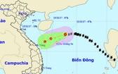 13 號颱風逼近黃沙群島。(圖源:中央水文氣象預報中心)