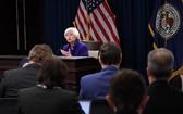 當地時間12月13日,美國聯邦儲備委員會主席耶倫在華盛頓舉行的新聞發佈會上講話。(圖源:新華網)
