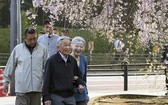 日本政府3日召開內閣會議,正式批准了天皇退位和皇太子即位相關儀式的基本方針。圖為日本明仁天皇偕美智子出門散步,觀賞櫻花享受春日好時光。(圖源:互聯網)