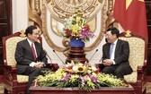 外交部長范平明(右)接見日本自由民主黨政策研究總裁、原外交大臣岸田文雄。(圖源:林慶)