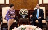 國家主席陳大光接見比利時駐越大使讓娜‧羅卡斯女士。(圖源:VOV)