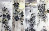 吳廣沛的牡丹作品:風、晴、雨、露