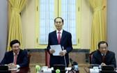 國家主席陳大光接見並責成任務予2018-2021年任期24名大使及越南駐外國機關首長。(圖源:VOV)
