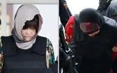 涉嫌朝鲜公民金哲(Kim Chol)被杀案的兩名女被告段氏香(左)及艾莎(右)被押解上庭。(圖源:路透社)