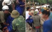 工人們將遇難者的屍體裹起來送上救護車。(圖源:互聯網)