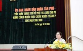 市持久穩固減貧計劃指委會副主任阮氏紅河在複查報告會議上發言。(圖源:廷菲)
