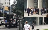 警員嚴陣以待(左、右下圖),疏散大批市民(右上圖)。(圖源:互聯網)