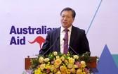 中國駐越大使館經商參贊胡鎖錦在論壇上發言。(圖源:志慧)