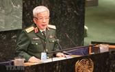 國防部副部長阮志詠上將在會議上上發言。(圖源:越通社)