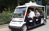 FPT與雅馬哈合作在興安省Ecopark都市區試行的自動駕駛汽車。(圖源:廷南)