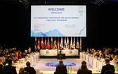 在芬蘭羅瓦涅米舉行的第11屆北極理事會部長級會議會場。(圖源:新華社)