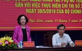 中央民運部長張氏梅(左)在會議上發表結論。(圖源:范強)