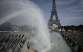 酷暑來襲,巴黎民眾在艾菲爾鐵塔附近的投卡德侯花園噴水池戲水消暑。(圖源:AP)