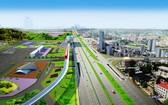 新東區車站前高架橋配景圖。(圖源:玉印)