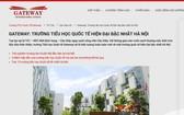 Gateway國際學校在其網站上推介的內容。(圖源:gateway.edu.vn)