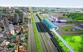 東區車站的高架橋配景圖。(圖源:市交通運輸廳)