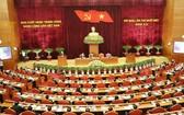 黨十二屆十一中全會第三天議程現場。(圖源:越通社)
