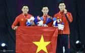 阮越英-阮制清-王懷恩奪得健美操團體賽金牌。(圖源:越快訊)
