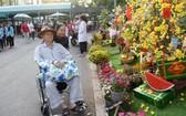 范氏春美帶丈夫參觀花街。(圖源:TTO)