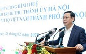 河內市委書記王廷惠在會上講話。(圖源:明慶)