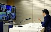 圖為 G7 視頻會議現場。 (圖源:共同社)