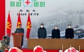 朝鮮國務委員會委員長金正恩出席平壤綜合醫院動工儀式。(圖源:AP)