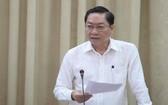 市衛生廳長阮晉炳在會上發言。(圖源:M.H)