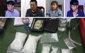 被抓獲的販毒團夥與涉案冰毒物證。(圖源:阮銀)