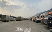 上百輛運載農產品的集裝箱大貨車在越中邊境口岸附近滯留等待通關。(圖源:海關在線)