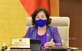 國會主席阮氏金銀在會上發言。(圖源:Quochoi.vn)