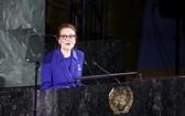 2019年11月20日,在位於紐約的聯合國總部,聯合國兒童基金會(兒基會)執行主任亨麗埃塔·福爾在聯大舉行的紀念《兒童權利公約》通過30週年高級別會議上講話。(圖源:新華社)