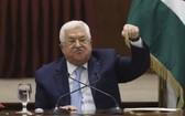 巴勒斯坦總統阿巴斯在拉姆安拉發表講話。(圖源:AP)