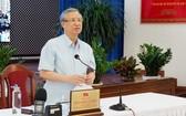 黨中央政治局委員、書記處常務陳國旺在會上發表指導意見。(圖源:峴港新聞網)