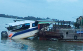 圖為發生在隆安省芹德縣新政鄉環古河河段的一起水路事故。(圖源:警方提供)