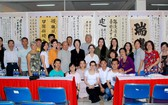 2019 年華文書法培訓班展覽作品師生集體合照。
