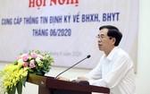 越南社保機關副總經理陶越映在會議上發言。(圖源:英俊)