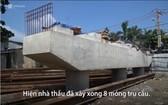 芽皮縣的隆景橋項目施工進度緩慢。(圖源:VNE視頻截圖)