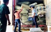 職能力量在驗貨場查獲 5 個冒充草藥的集裝箱。(圖源:海州)