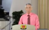 新加坡總理李顯龍發表全國電視演說,建議總統哈莉瑪解散國會提前大選。(圖源:歐新社)