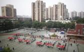 圖為6月20日,北京實施新冠病毒檢測。(圖源:SIPA)