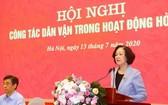 中央民運部長張氏梅在會上致開幕詞。(圖源:芳英)