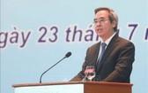 中央經濟部長阮文平在會上講話。(圖源:越通社)