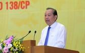 黨中央政治局委員、政府常務副總理、138指委會及389指委會主任張和平主持會議並發表講話。(圖源:黎山)