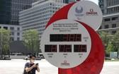 這是8月3日在日本東京站前廣場拍攝的東京殘奧會倒計時電子時鐘。(圖源:新華社)