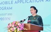 國會主席阮氏金銀代表AIPA 41國家指委會,在公佈儀式上致詞。(圖源:Quochoi.vn)