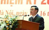 河內市委書記王廷惠在大會上致詞。(圖源:維鈴)
